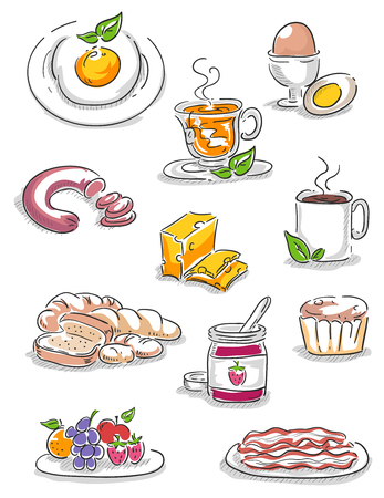 Illustration of Different Foods for Breakfast from Egg, Tea, Coffee, Sausage, Jam, Muffin, Bacon, Berries, Bread and Soup Imagens