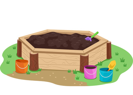 Illustration of a Container Filled with Mud in the Garden with Shovels and Pails
