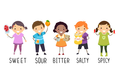Illustration of Stickman Kids Holding Objects to Represent Different Tastes From Sweet, Sour, Bitter, Salty and Spicy