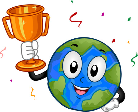 Illustration of an Earth Mascot Holding a Gold Trophy with Confetti Falling Stock Photo