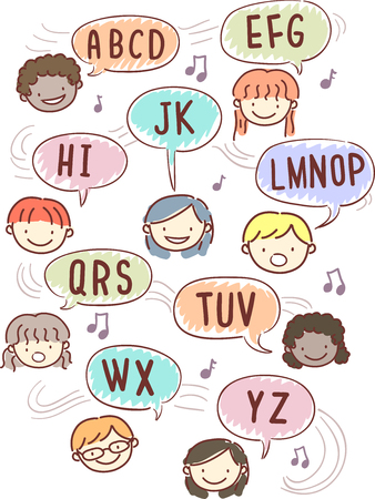 Illustration of Stickman Kids Singing the Alphabet Rhyme Song