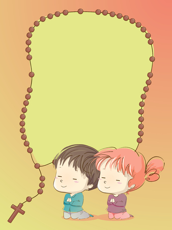 Background Illustration of Kids Praying with a Rosary Frame Design Stok Fotoğraf - 95564340