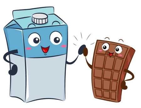 Illustration of a Milk Box Mascot High Five with a Chocolate Bar Mascot Stock Photo