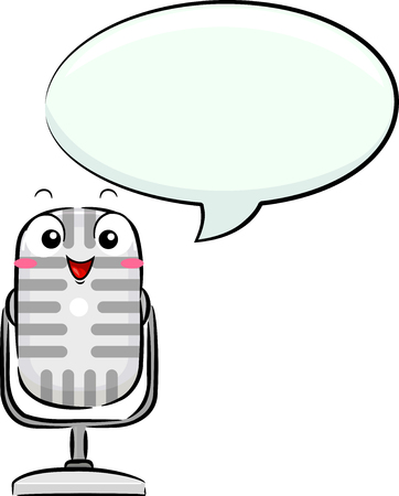 Illustration of a Microphone Mascot Speaking with a Blank Speech Bubble for Podcasting
