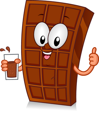 Illustration of a Chocolate Bar Mascot Holding a Glass of Chocolate Drink and with Thumbs Up