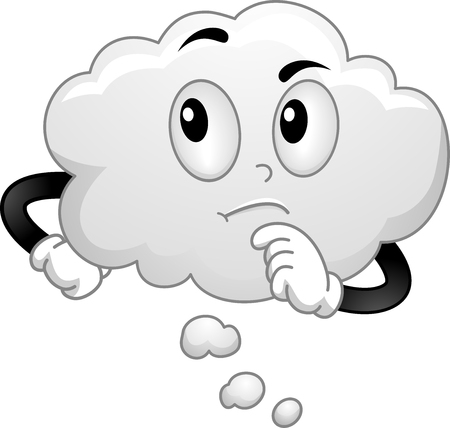 Illustration of a White Thinking Cloud Mascot with Hand on Chin