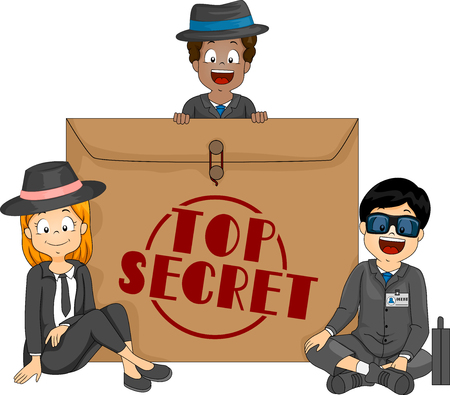 Illustration of Agent Kids In Black with an Envelope Labeled as Top Secret