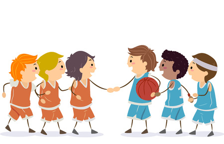 Illustration of Stickman Boys in Uniform Shaking Hands for a Basketball Game 스톡 콘텐츠