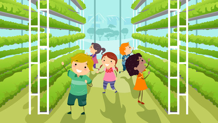 Illustration of Stickman Kids Inside a Modern Vertical Garden Inside a Greenhouse Archivio Fotografico - 95526302