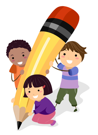 Illustration of Stickman Kids Holding a Pencil Writing Something