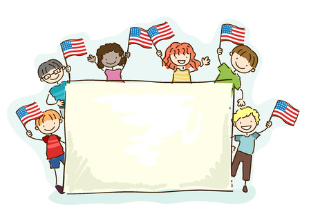 Illustration of Stickman Kids Waving the American Flag and Holding a Blank Board