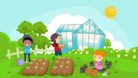 Illustration of Stickman Kids in the Garden with a Greenhouse, Garden Plots, Floral Shrubs and Trees