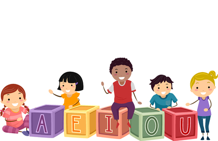 Illustration of Stickman Kids with Blocks with Vowels of the Alphabet 스톡 콘텐츠