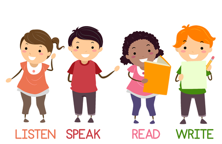 Illustration de Stickman Kids montrant quatre compétences de base pour l'anglais de l'écoute, de la parole, de la lecture et de l'écriture Banque d'images - 95555389