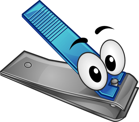Illustration of a Nail Cutter Mascot In Silver and Blue
