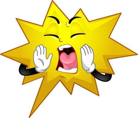 Illustration of a Shouting Speech Bubble Mascot for Comics