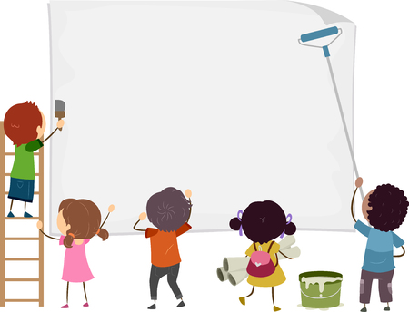 Illustration of Stickman Kids Posting a Big Blank Paper on the Wall for Announcement