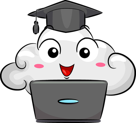 Illustration of a Cloud Mascot Wearing a Graduation Cap In Front of a Laptop Stock Photo