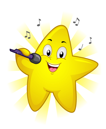 Illustration of a Yellow Star Mascot Holding a Microphone and Singing a Song