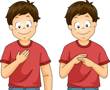 Illustration of a Kid Boy Showing My Name Sign Language in Class