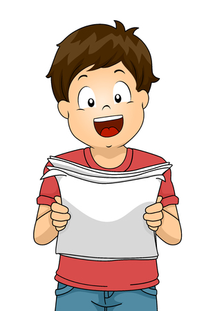 Illustration of a Kid Boy Reading and Holding a Paper Out Loud for Practicing His Speech Фото со стока