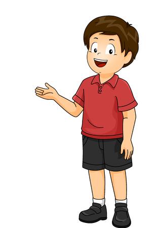 Ilustración de un niño Kid parado y presentando algo a su derecha