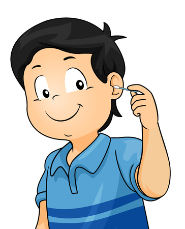 Illustration of a Kid Boy Using a Cotton Buds Cleaning His Ear