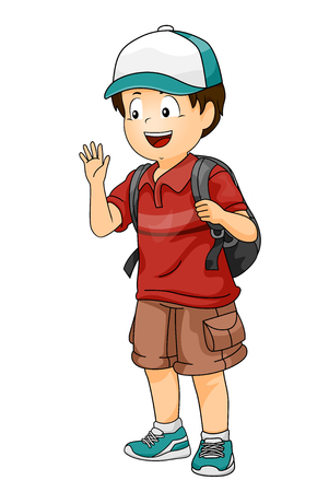 Illustration of a Kid Boy with a Cap and Carrying a Back Pack Waving Hello to a Friend Фото со стока - 95966410