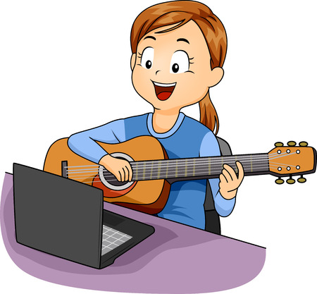 Illustration of a Kid Girl Learning to Play the Guitar from Her Laptop 스톡 콘텐츠