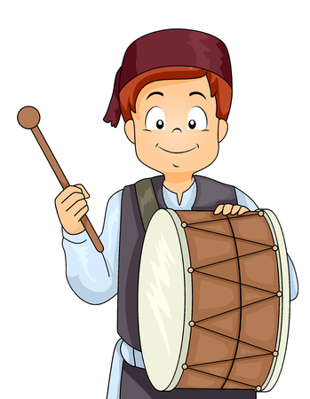 Illustration of a Muslim Kid Boy with a Drum and Stick Playing for Ramadan