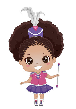 Illustration of a Kid Girl Wearing Majorette Outfit and Holding a Baton