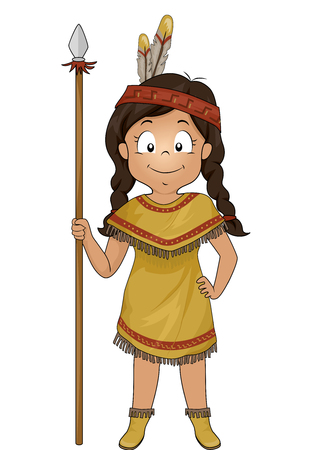 Illustration of a Native American Kid Girl Holding a Spear