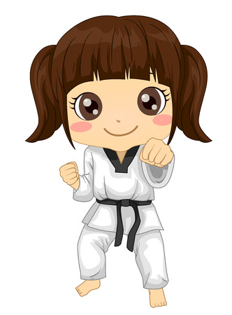 Illustration of a Kid Girl In Uniform and In Taekwondo Pose