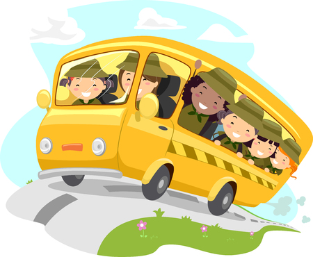 Illustration of Stickman Kid Girls Riding a School Bus Going to Camping