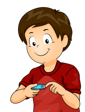 Illustration of a Kid Boy Using Nail Cutter Clipping His Fingernails 스톡 콘텐츠