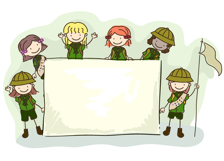 Illustration of Stickman Kids Girls Wearing Girl Scout Uniforms and Holding a Blank Banner for Camping