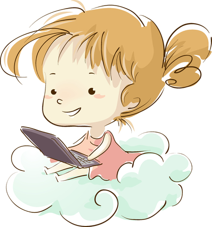 Illustration of a Kid Girl Sitting on a Cloud with Laptop. Cloud Computing Stock Photo