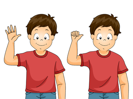 Illustration of a Kid Boy Showing Good Bye Sign Language