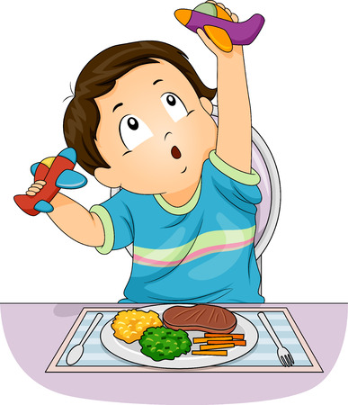 Illustration of a Kid Boy Playing With Airplane Toys Instead of Eating His Meal on the Table Stock Photo