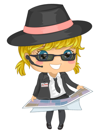 Illustration of a Kid Girl in Secret Agent Costume Looking at a Map Standard-Bild
