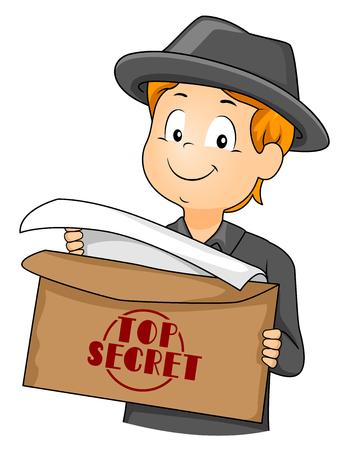 Illustration of a Kid Boy Secret Agent Reading a Top Secret Mission in an Envelope Stock Photo