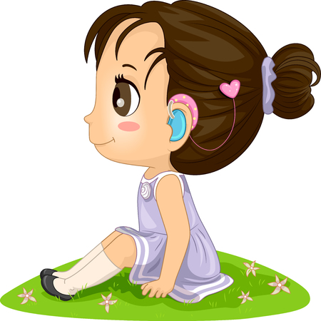 Illustration of a Kid Girl Outdoors Wearing a Hearing Aid in Her Ears