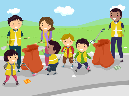 Illustration of Stickman Kids with their Teachers Cleaning the Road Stock Photo