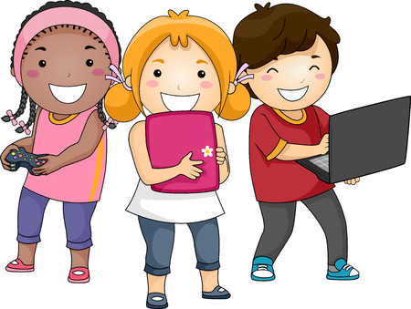 Illustration of Kids Learning Using Different Gadgets from Mobile, Tablet Computer and Laptop