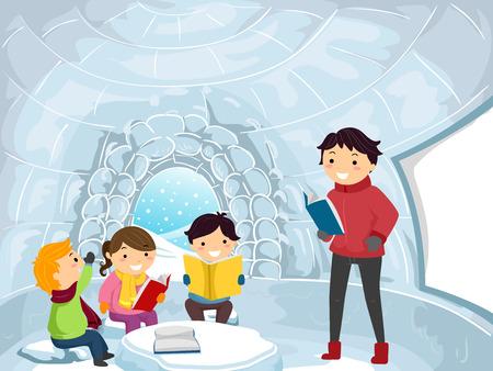 Illustration of Stickman Kids and Teacher Learning Inside an Igloo Classroom Stock Photo