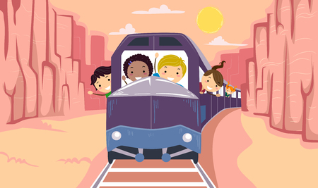 Illustration of Stickman Kids Explorer Riding a Train Touring the Canyons