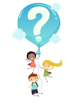 Illustration of Stickman Student Kids Carried by a Big Blue Balloon with a Question Mark 版權商用圖片