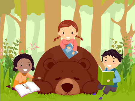 Illustration of Stickman Kids Reading Books with a Sleeping Brown Bear in the Woods Foto de archivo