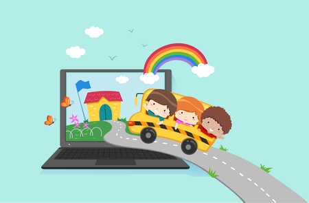 Illustration of Kids Riding a School Bus Going to School Inside a Laptop. Online School Concept Stock Photo