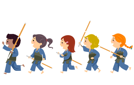 Illustration of Stickman Kids Wearing Uniform and Holding Bamboo Sticks Ready for Kendo